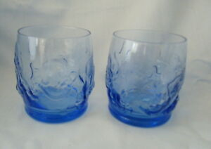 2-Blue-Disney-Drinking-Glasses-Minnie-Mickey-Goofy-amp-Pluto-apr-H-7cm-Free-P-amp-P