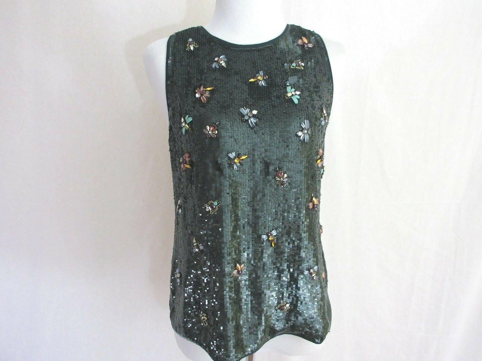 J. Crew Collection Silk Sequin Heavily Embellished Sleeveless Top Tank NWT XS/S
