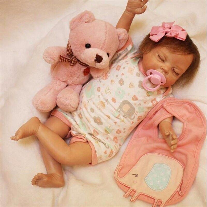 19  realista Dormir Bebé Niña Muñeca De Juguete De Vinilo De Silicona Reborn Recién Nacido Para Niños De Regalo
