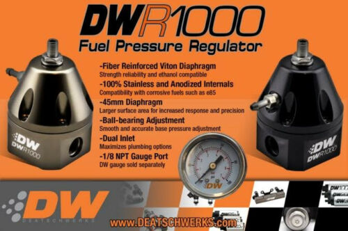 DeatschWerks DW Fuel Pressure Regulator FPR DWR1000 6-1000-FRT Anodized Titanium