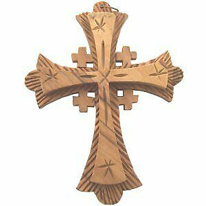 """Jerusalem Cross Double Sided Wooden Cross 9.5x7 Cm or 3.7x2.8/"""""""