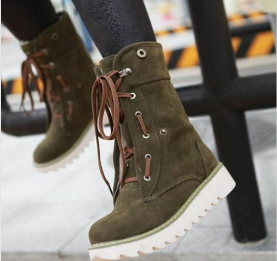 botas zapatos de mujer verde talón 3.5 como piel cómodo caldi 9156