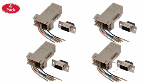 4 Pack DB9 Female to RJ45 Modular Extender Converter 8P8C Adapter Connector v2