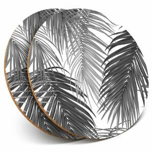 2-x-Coasters-bw-Palm-Leaves-Surf-Tropical-37894