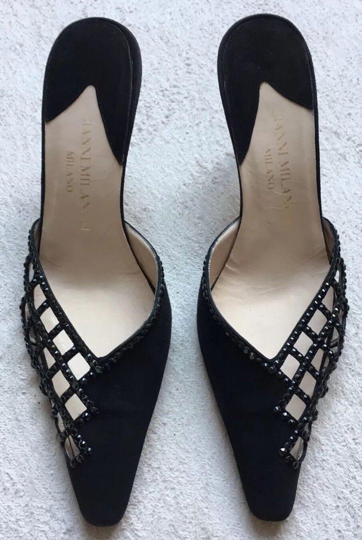 "a buon mercato Gianni Milanesi Milano Kitten Heels Heels Heels Sz 8 Gems, Slip-On 3"" Italian Leather nero  fantastica qualità"