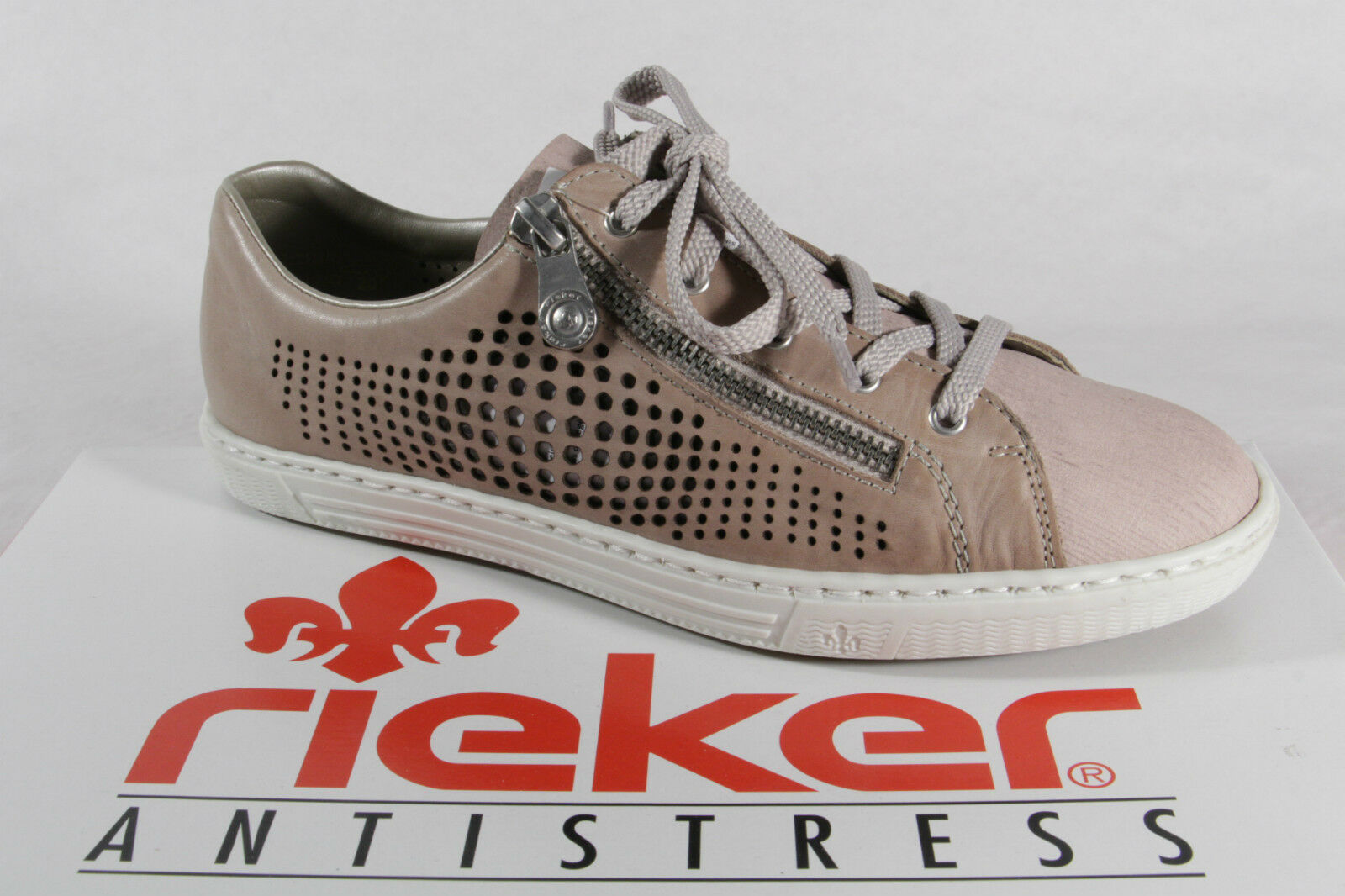 Rieker Women's Lace-Up shoes, Low shoes, Trainers Faux Leather Beige pink New