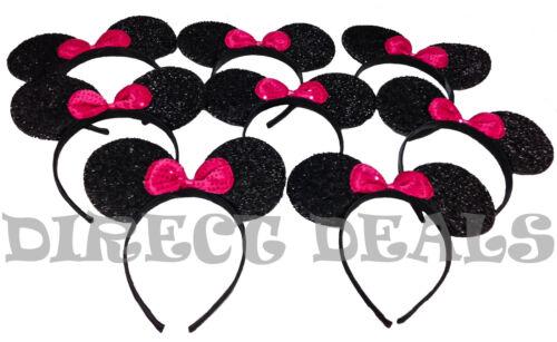 12 pcs Minnie Mickey Mouse Ears Headbands Black Shiny *Pink* Bows Party Birthday