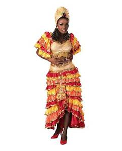 Womens-Deluxe-Rumba-Costume-Dress-Cuban-Caribbean-Turban-Tropical-Size-Medium