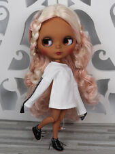 Blythe Nude Doll from Factory Matte Face Jointed Body Black Skin Pink White Hair