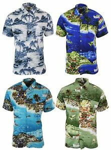 Avec Style Chemise Courtes Aloha Manches Homme Boutons Hawaienne IngqHpwa