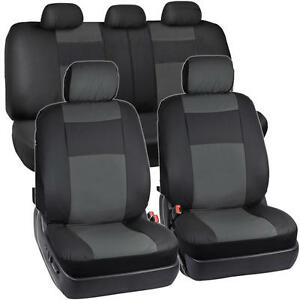 Image Is Loading Synthetic Leather Car Seat Covers Black Charcoal Gray