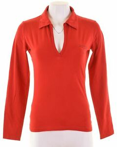 CALVIN-KLEIN-Womens-Polo-Shirt-Long-Sleeve-Size-14-Large-Red-Cotton-KD17