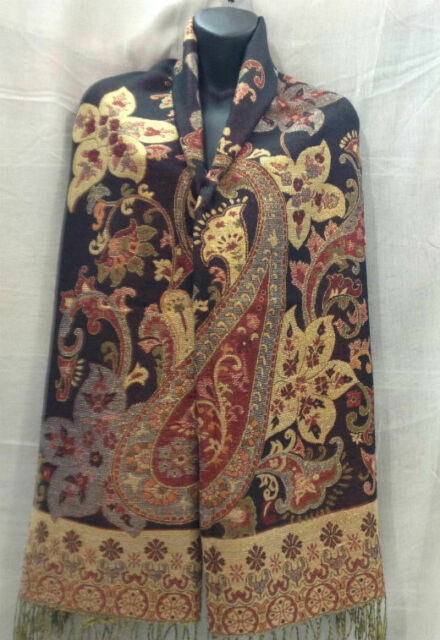 Dk Blue-Black Paisley Floral 70/%Pashmina//30/%Silk Wool Scarf Wrap Shawl Classic4d