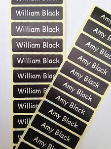 300-BLACK-Printed-Name-Labels-Tapes-IRON-ON-School-tag-Soft-satin-fabric