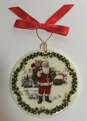 Spode Christmas Tree Round Ornament American Santa Claus 7th In Series