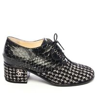 New CHANEL Tweed Wool Python Lace Up Shoes Heels Boots Black & White 37 7 6.5