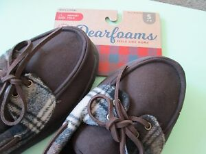 Dearfoams-Men-039-s-Brown-Microsuede-Plaid-Moccasin-Slippers-S-7-8-Msrp-37-New