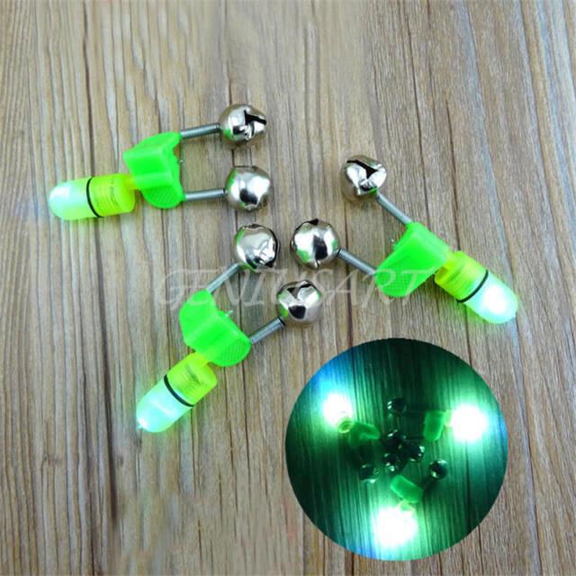 5x New outdoor rod tip led light night fishing clip twin ring bite alarm bells g