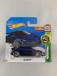 Hot-Wheels-Mclaren-P1-2015-Blue-Short-Card-Diecast-1-64-BOXED-SHIPPING