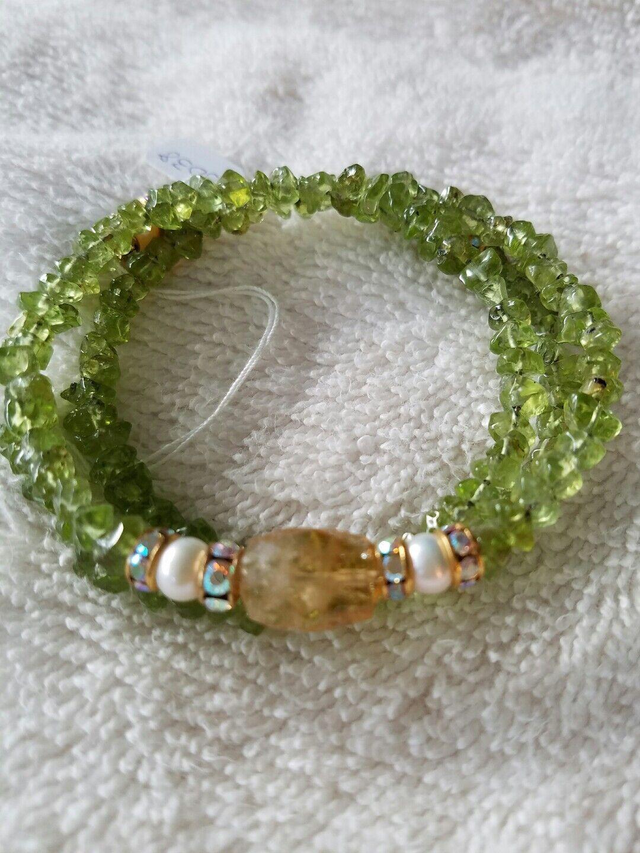 One Of A Kind Memory Wire Bracelet Semi Precious Stones