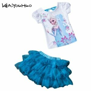 580df02e0 Details about Vestido Tutu de Niña Traje Dibujo Moama Princesa Anna Elsa  Ropa Falda + Camiseta