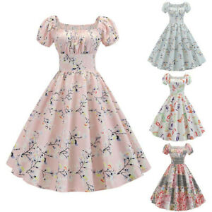 Women-Vintage-1950s-Retro-Short-Sleeve-Print-Evening-Party-Gown-Prom-Swing-Dress