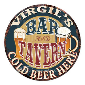 CPBT-0283-VIRGIL-039-S-BAR-N-TAVERN-COLD-BEER-HERE-Sign-Father-039-s-Day-Gift-For-Man