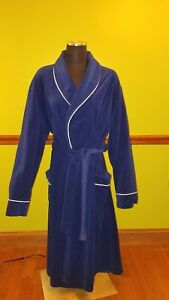 Vanity-Fair-For-Him-blue-white-long-sleeve-new-vintage-velour-lounge-robe-XXL