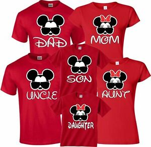 Details About Mom And Dad Family Mickey Minnie Head Disney Birthday Customized RED T Shirts