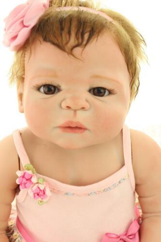 """22/"""" Full Body Silicone Doll Girl Soft Vinyl Reborn Baby Doll Waterproof Bath Toy"""