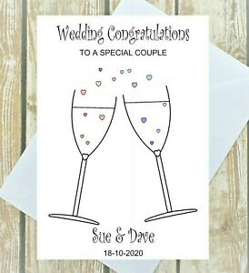 Flûtes à Champagne Jour de mariage personnalisé Carte de vœux