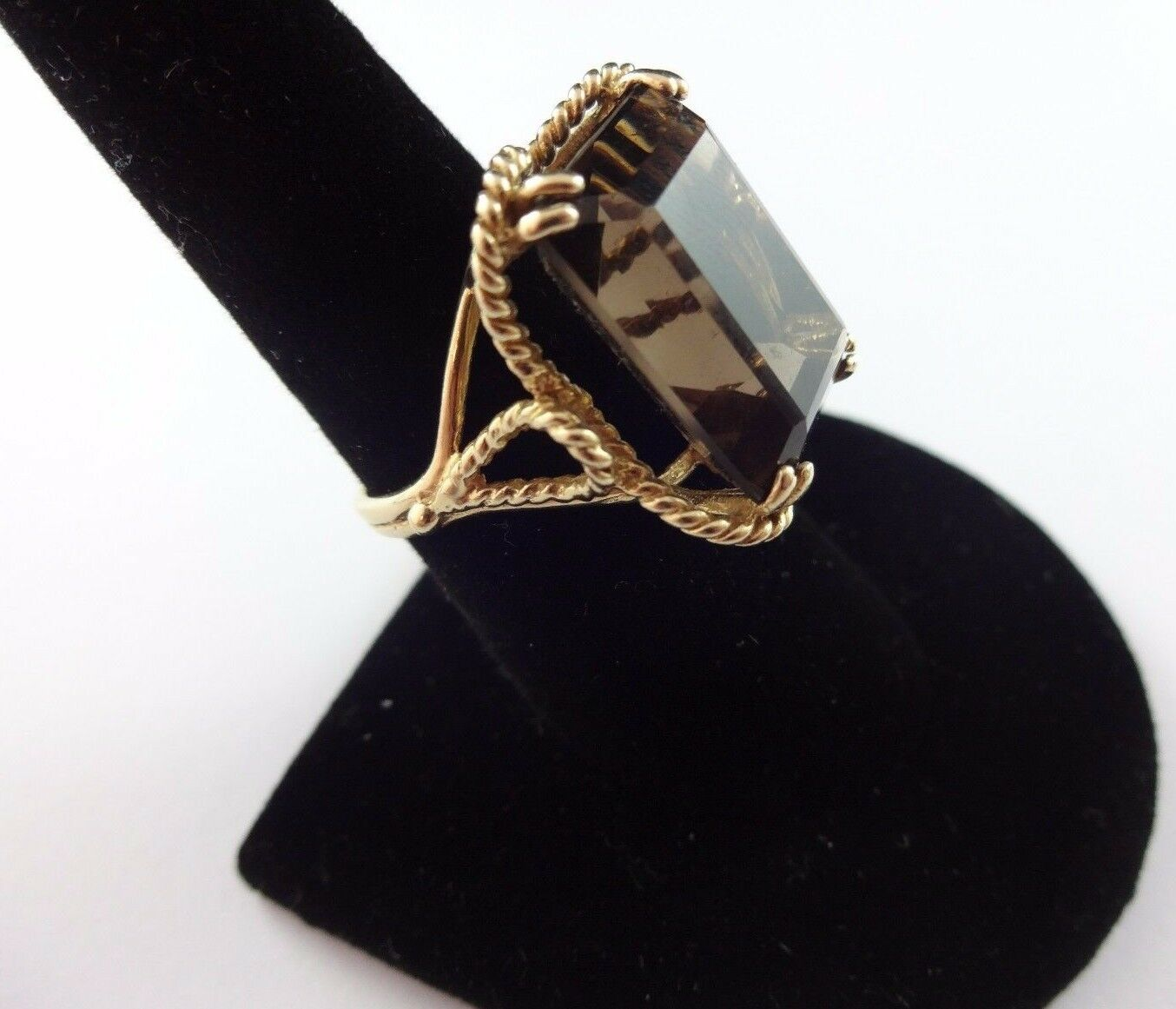 Vintage Solid 14k Yellow gold Solitaire Ring with HUGE Smoky Quartz Gemstone