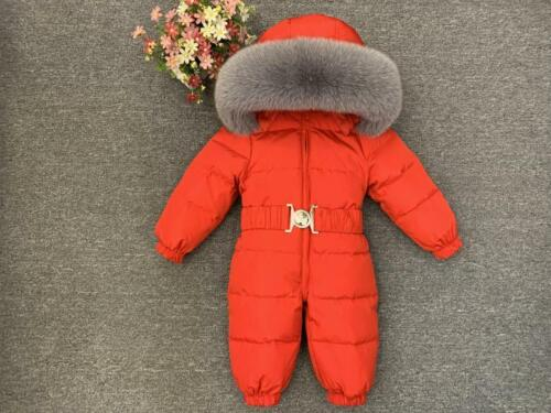 Luxury Large Fur Collar Infant  Snowsuit Thick Warm Down Rompers Hooded Toddler