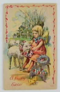 Postcard-A-Happy-Easter-Girl-Lambs-Basket-of-Eggs-Baby-Chicks