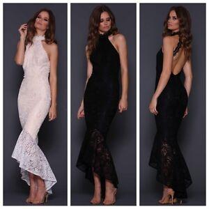 Elle Zeitoune Black Lace Low Backless Design Dress Evening Long Ball