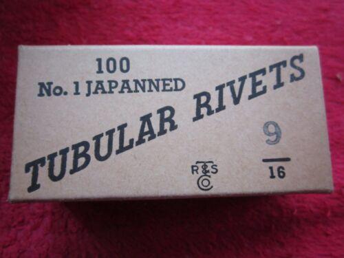 "JAPANNED // BLACK ANTIQUE 1930/'s BOX OF 100 TR/&S Co 9//16/"" TUBULAR RIVETS NOS"