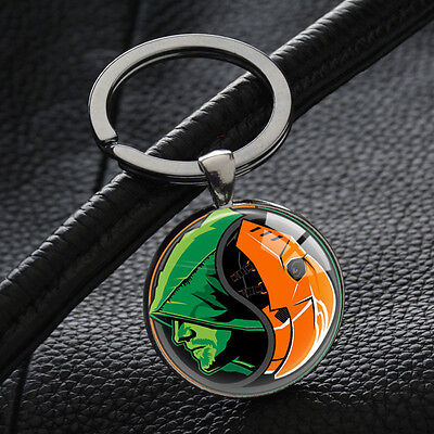 Green Lantern Keychains Vintage Custom Superhero Key Chain Silver Glass Pendant