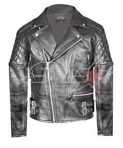 Jacket Brando Stock Quilted Uk Mens Biker Leather Real Black Vintage Motorcycle pB1Pxq