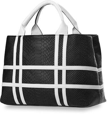 originelle Handtasche Damentasche Schlangenleder-Muster Bowlingbag sportlich