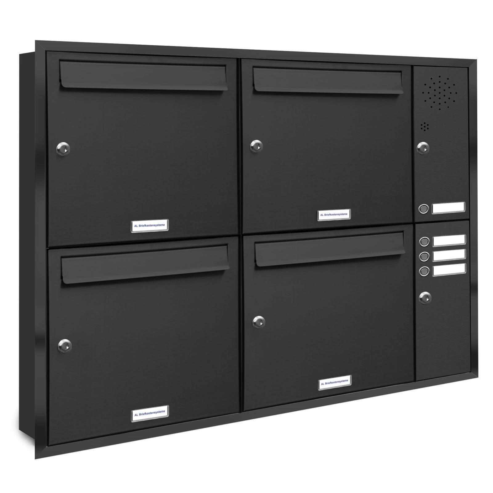 4 er 2x2 Premium Unterputz Briefkasten Anlage Klingel RAL 7016 anthrazit