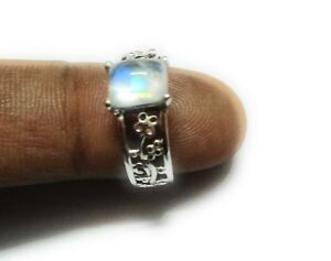 Rainbow-Moonstone-Natural-Gemstone-925-Sterling-Silver-Ring-Size-7