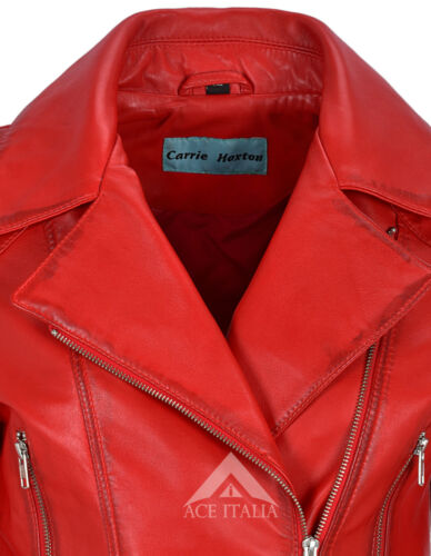 /'FEMININE/' Ladies Leather Jacket Red Belted Chic Rock Real Leather Jacket 2812