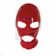 Campana De Látex Completa Máscara Boca abierta y ojos 3 agujeros Elástico Rojo GIMP Máscara hood
