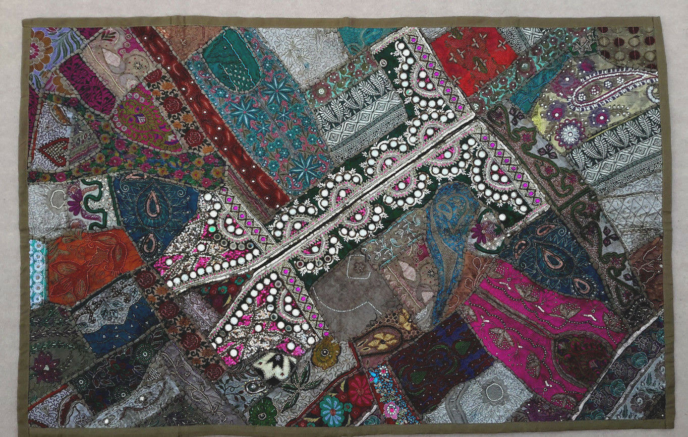 100 x 150 cm Wandteppich Khaki Wandbehang Bollywood Bollywood Bollywood Rajasthan Patchwork Sari | Eine Große Vielfalt An Modelle 2019 Neue  1da2d7