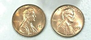 1973-P-amp-D-GEM-RED-UNCIRCULATED-LINCOLN-CENTS-2-COINS