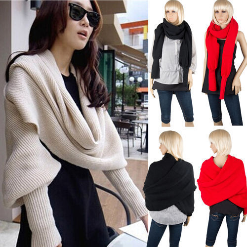3 Colors Women Long Sleeve Scarf Shawl Loose Cardigan Knitted Sweater Wrap