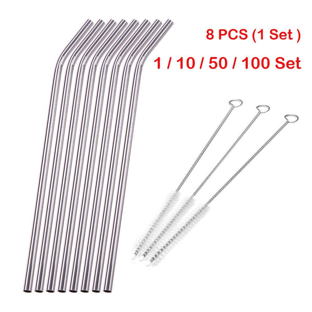 8Pcs Stainless Steel Metal Bend Drinking Straw Straws w  3 Cleaner Brush Set
