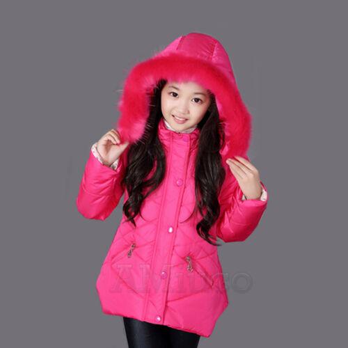 Kids Girls Winter Padded Warm Coat Jacket Fur Collar Outerwear Middle Parka Gift