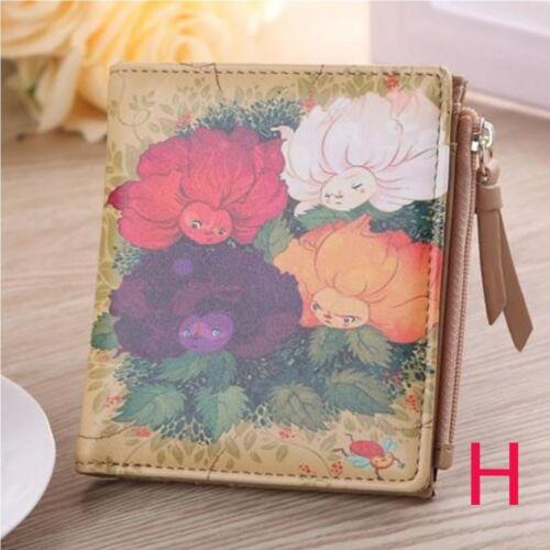1pc  Cartoon Leather Small Wallet Card Holder Zip Coin Purse Clutch Handbag