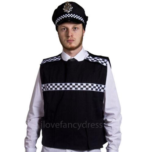 ADULT POLICE COSTUME STAB VEST AND PANDA CAP HAT FANCY DRESS SWAT BRITISH COPPER